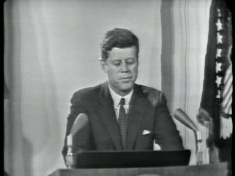 president john f. kennedy holds a press conference about the removal of soviet missile sites from cuba. - cuba stock videos & royalty-free footage