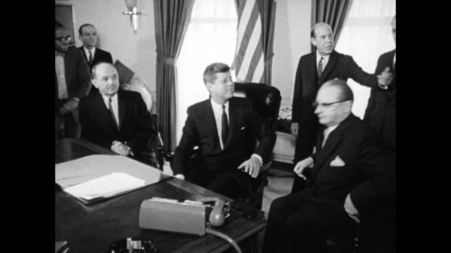 stockvideo's en b-roll-footage met president john f kennedy in oval office with dean rusk and others - john f. kennedy