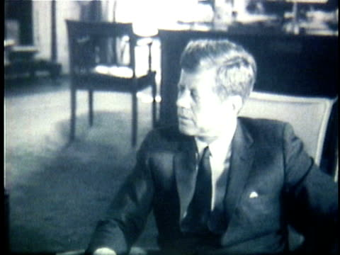 president john f kennedy meeting with two official advisers at the white house robert macnamara defense secretary and a military general during the... - john f. kennedy us president stock videos & royalty-free footage