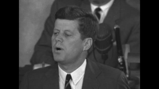 us president john f kennedy says time for this nation to take a clearly leading role in space achievement which in many ways may hold the key to our... - 1961 stock videos & royalty-free footage
