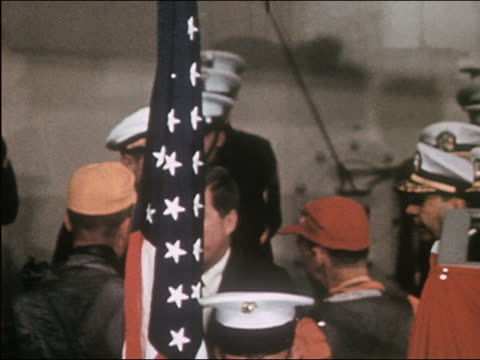 vídeos y material grabado en eventos de stock de us president john f kennedy shaking hands of navy staff on deck of ship - 1962
