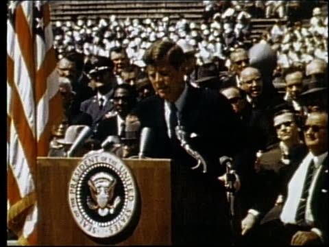 vídeos y material grabado en eventos de stock de president john f kennedy speaking at rice university / houston texas united states - 1962