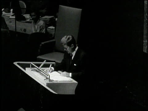 president john f. kennedy speaks about nuclear weapons before the general assembly of the united nations. - nuclear weapon stock videos & royalty-free footage