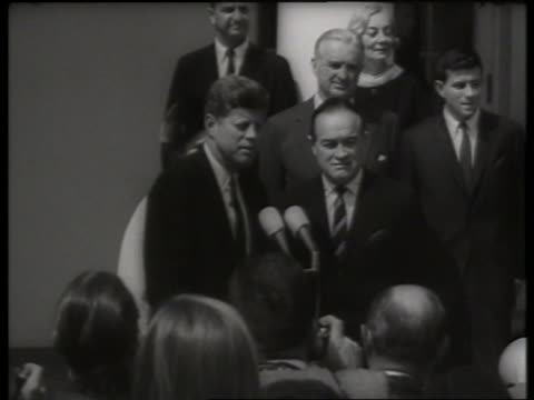 "president john kennedy and bob hope at award ceremony / 1960""s / sound - bob hope komiker stock-videos und b-roll-filmmaterial"