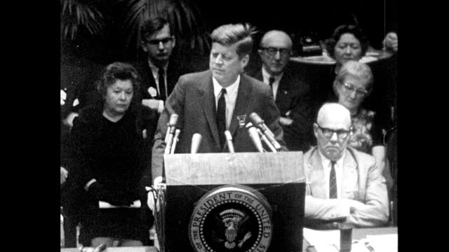 president john kennedy gives a speech to labor leaders at a ballroom in the americana hotel in new york city / seven days before he was assassinated... - speech stock videos & royalty-free footage