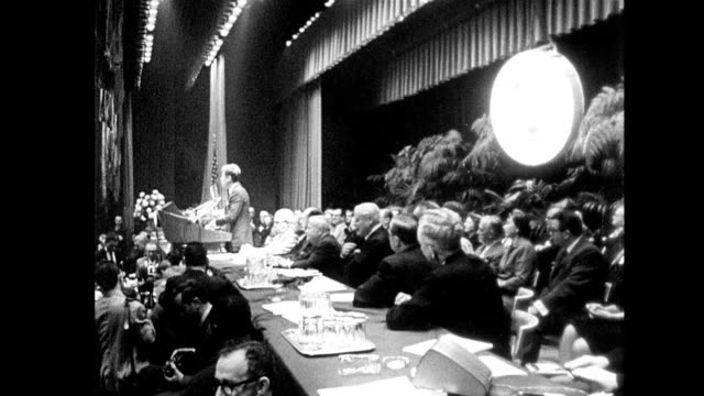 President John Kennedy gives a speech to labor leaders at a ballroom in the Americana Hotel in New York City / seven days before he was assassinated...