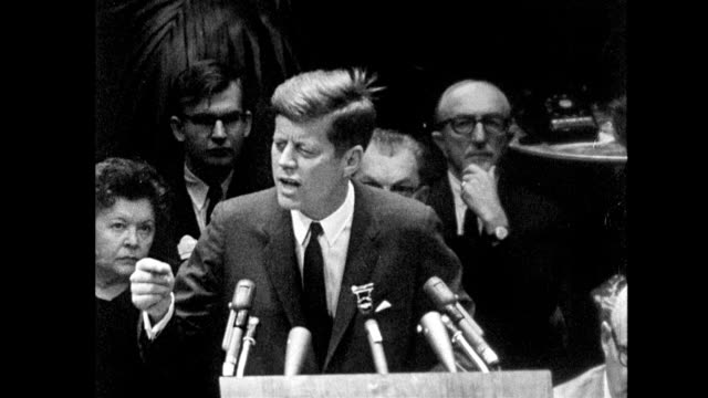 president john kennedy gives a speech to labor leaders at a ballroom in the americana hotel in new york city / seven days before he was assassinated... - john f. kennedy us president stock videos & royalty-free footage