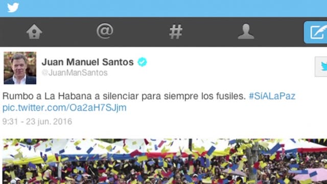 president juan manuel santos tweeted he is on his way to havana to silence guns forever thursday as colombias government and the farc guerrilla force... - juan manuel santos stock videos & royalty-free footage