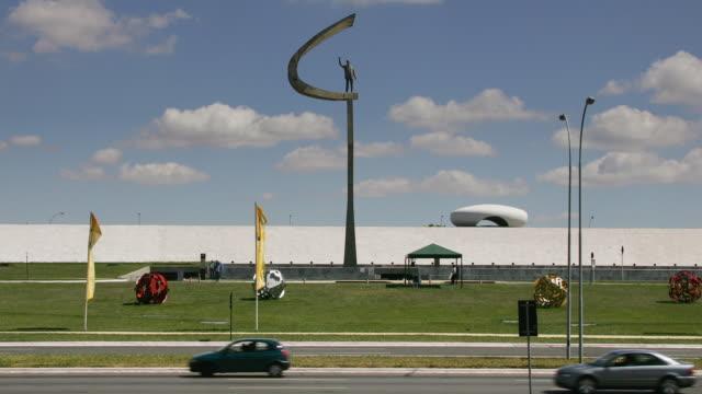 t/l, zo, ws, president juscelino kubitschek memorial, brasilia, brazil - monument stock videos & royalty-free footage