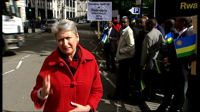 President Kagume angered over genocidal allegations ENGLAND London Various views of crowd outside the International Institute of Strategic Studies...