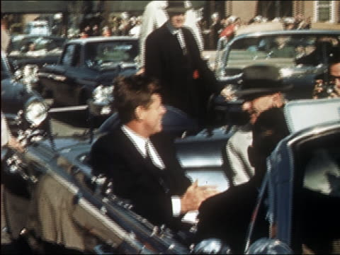 US president Kennedy and vice president Johnson leaving NATO Atlantic Command Center / Virginia