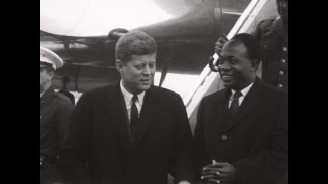 President Kennedy Greets Dr Kwame Nkrumah President of Ghana on Arrival at Washington International Airport Nkrumah gives speech