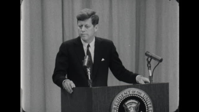 president kennedy speaks space exploration - weltraumforschung stock-videos und b-roll-filmmaterial
