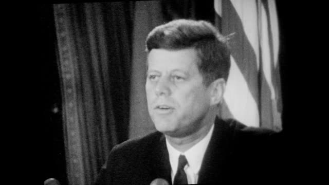 president kennedy speaks to the nation to inform americans of recently discovered soviet military buildup in cuba, including the ongoing installation... - 1962年点の映像素材/bロール