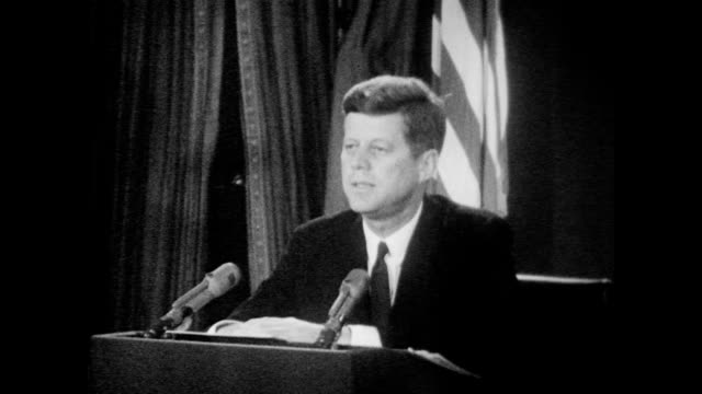 president kennedy speaks to the nation to inform americans of recently discovered soviet military buildup in cuba including the ongoing installation... - cuban missile crisis stock videos & royalty-free footage