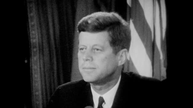 president kennedy speaks to the nation to inform americans of recently discovered soviet military buildup in cuba including the ongoing installation... - missile stock videos & royalty-free footage