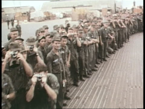 us president lyndon b johnson and general william westmoreland greet us soldiers on a military base in vietnam - military uniform stock videos & royalty-free footage