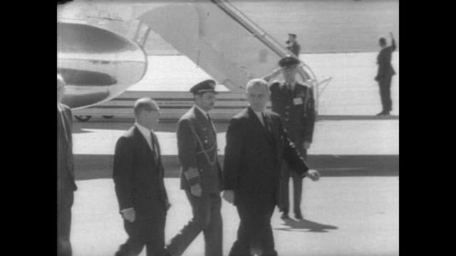 president lyndon b johnson arrives by plane to montevideo for the 19 nation hemisphere summit conference / cu different latin american flags /... - recreational horse riding stock videos and b-roll footage