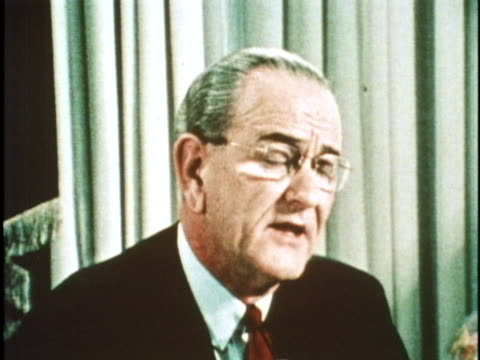 US President Lyndon B Johnson makes a speech saying I shall not seek and I will not accept the nomination of my party for another term as your...