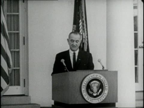 US President Lyndon Johnson speaks in support of the National Voting Rights Act at White House in 1965