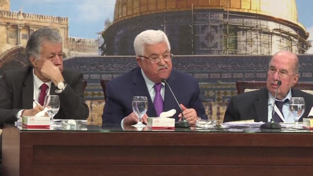 president mahmud abbas is reelected head of the palestine liberation organisation as the veteran leader seeks to strengthen his control over politics... - palestine liberation organisation stock videos & royalty-free footage