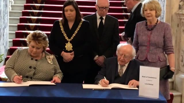 president michael d higgins speaks about murdered journalist lyra mckee at belfast city hall after signing her book of condolence the 29yearold was... - michael d. higgins stock videos and b-roll footage