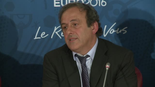 vídeos y material grabado en eventos de stock de president michel platini has urged brazilians to calm down and not to spoil the world cup after violence flared in rio's tourist copacabana beach area - unión europea de las asociaciones nacionales