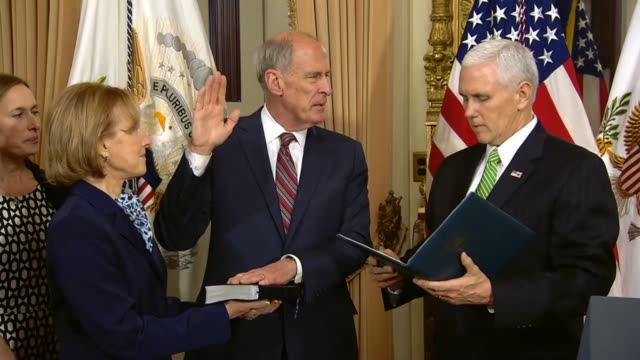 president mike pence says that he has known former senator dan coats for years appreciating his continuing to serve the united states in the vitally... - united states national team stock videos & royalty-free footage