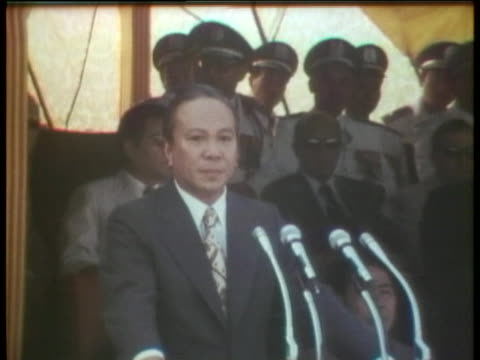 president nguyen van thieu of south vietnam speaks in a blistering attack, accusing the united states of betrayal. - south vietnam stock videos & royalty-free footage