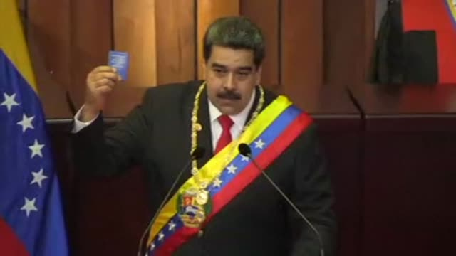 vídeos de stock, filmes e b-roll de president nicolas maduro accuses the united states and other governments of waging a world war against venezuela after the leader was sworn in for a... - maduro