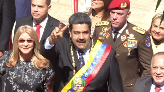 president nicolas maduro arrives at the constituent assembly to deliver his first speech since taking office for a second six year mandate in crisis... - maduro stock videos & royalty-free footage