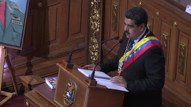president nicolas maduro greets officials as he enters the constituent assembly to deliver his first speech since taking office for a second mandate - maduro stock videos & royalty-free footage