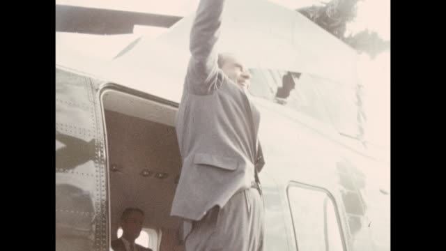 stockvideo's en b-roll-footage met president nixon boards helicopter departing the uss hornetêsp00251 ss rt 757 wr - provincial reconstruction team