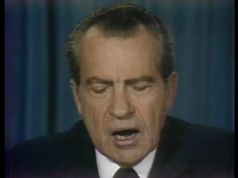 president nixon declares that he is resigning as president of the united states. - resignation of richard nixon stock videos & royalty-free footage