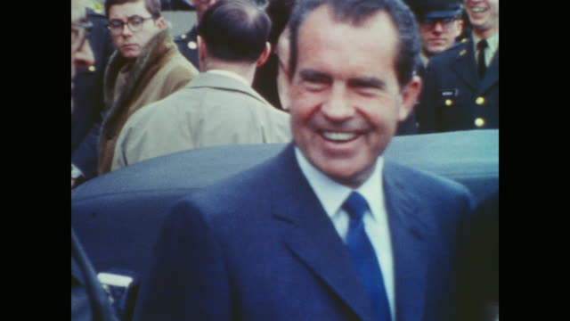 president nixon descends crowded pentagon steps before driving away - president stock videos & royalty-free footage