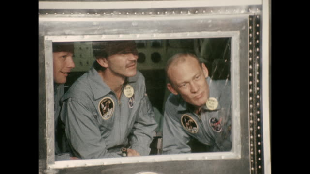 president nixon greets the apollo 11 astronauts - neil armstrong, edwin aldrin and michael collins. apollo 11 launched from the kennedy space center... - greeting stock videos & royalty-free footage