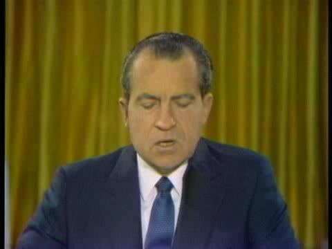 vidéos et rushes de president nixon reports that there is little progress toward ending the vietnam war. - la fin