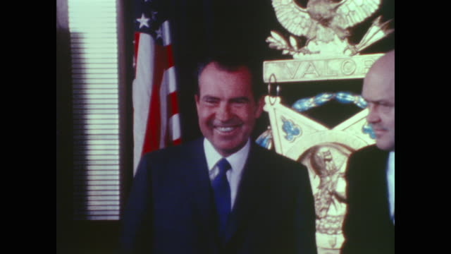 president nixon visits hall of heroes - richard nixon stock videos & royalty-free footage