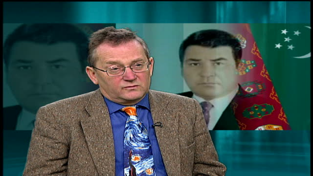 london gir int professor robert service interview sot borat should have picked on turkmenistan - borat sagdiyev stock-videos und b-roll-filmmaterial