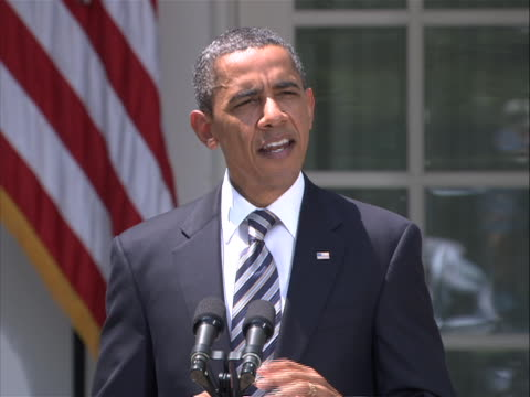 president obama delivers a statement in the rose garden of the white house on the debt compromise passed by both houses of congress to reduce the... - united states and (politics or government) stock videos & royalty-free footage