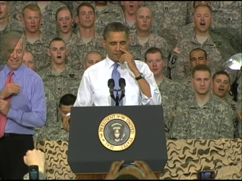 president obama delivers remarks to service members at fort campbell in kentucky who have recently returned from deployment vice president joe biden... - united states and (politics or government) stock videos & royalty-free footage