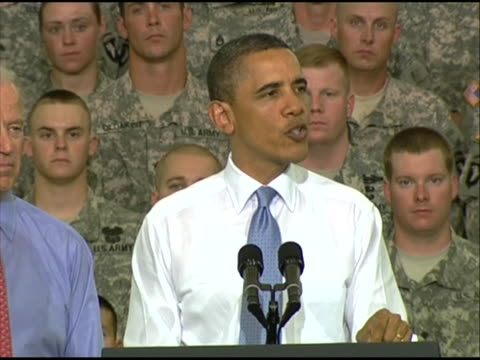 president obama delivers remarks to service members at fort campbell in kentucky, who have recently returned from deployment; vice president joe... - united states and (politics or government) stock videos & royalty-free footage