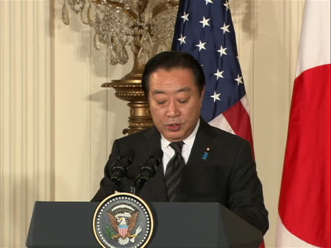 president obama holds a joint press conference with japanese prime minister yoshihiko noda in the east room on april 30, 2012. sot noda: i had a very... - united states and (politics or government)点の映像素材/bロール