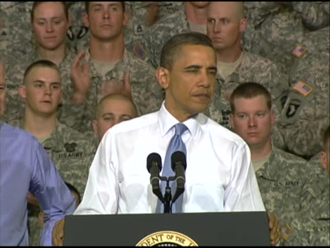 president obama reflects on the killing of osama bin laden and delivers remarks to service members at fort campbell in kentucky who have recently... - united states and (politics or government) stock videos & royalty-free footage