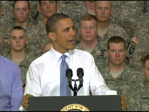 president obama reflects on the troops who participated in the raid that killed osama bin laden while delivering remarks to service members at fort... - united states and (politics or government) stock videos & royalty-free footage
