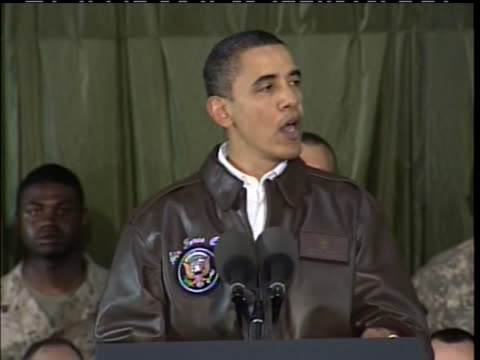 president obama tells troops in afghanistan that america will not quit during a 2010 visit to bagram airfield. - bagram stock-videos und b-roll-filmmaterial