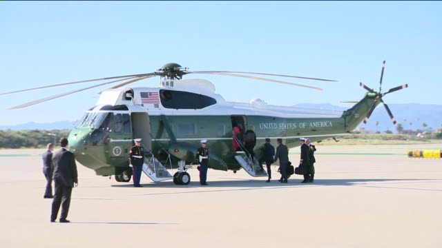 KTLA President Obama visits Los Angeles on March 12 2015 Marine One prepping to take off with President Obama