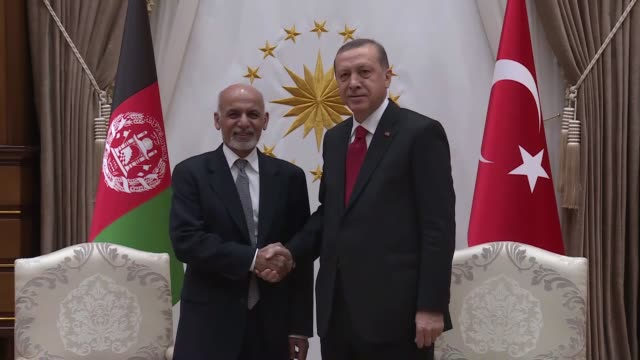 president of afghanistan ashraf ghani ahmadzai meets with president of turkey recep tayyip erdogan at presidential complex in ankara turkey on... - president stock videos & royalty-free footage