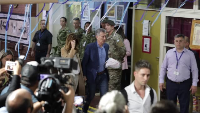 president of argentina and presidential candidate mauricio macri of 'juntos por el cambio' arrives with first lady of argentina juliana awada to cast... - mauricio macri stock videos and b-roll footage