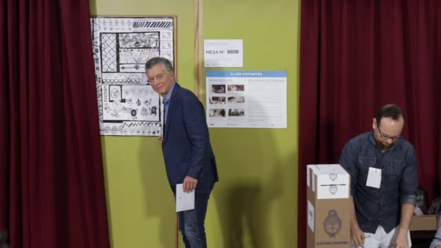 president of argentina and presidential candidate mauricio macri of 'juntos por el cambio' casts his vote during the presidential elections in... - mauricio macri stock videos and b-roll footage